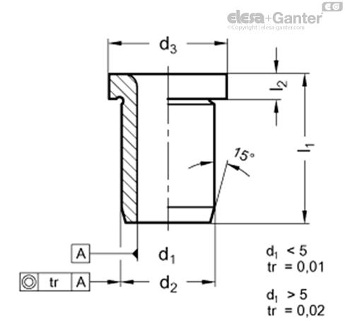 Направляющие втулки DIN 172 чертеж
