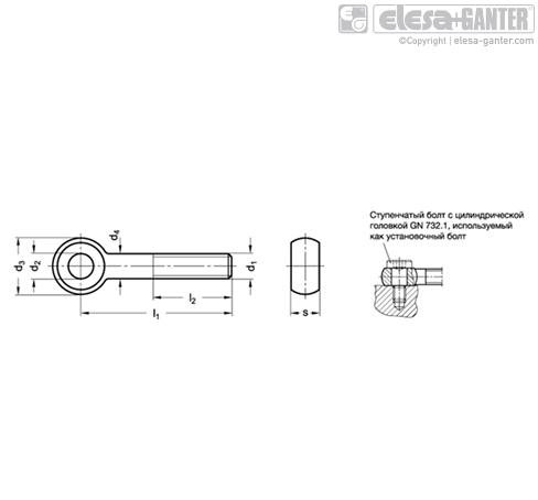 Откидные болты DIN 444-NI чертеж