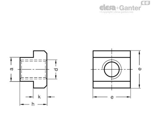 Гайки для Т-образных пазов DIN 508-NI чертеж