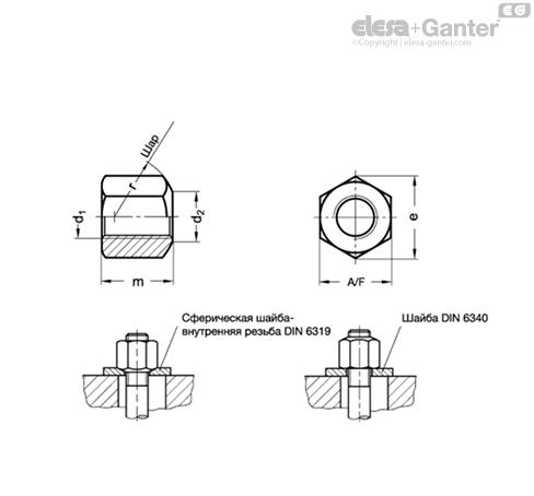 Шестигранные гайки DIN 6330-NI чертеж
