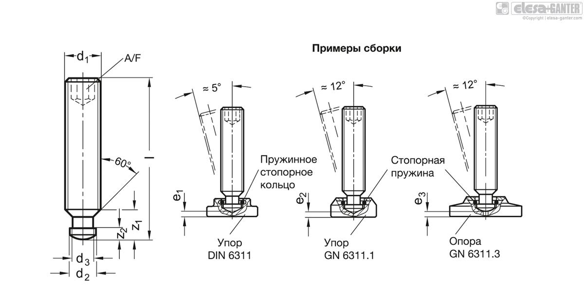 Шпильки DIN 6332-ZB чертеж