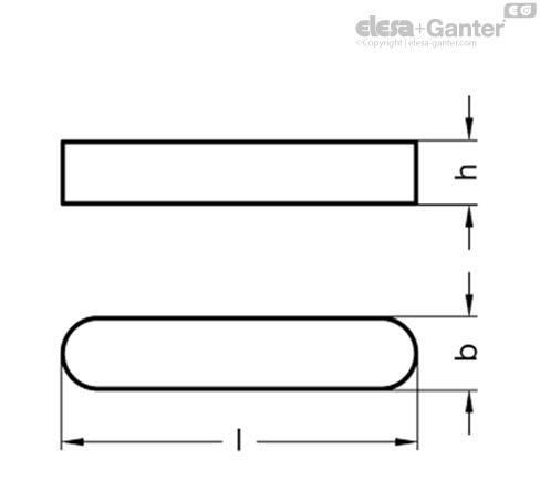 Призматические шпонки DIN 6885-NI чертеж