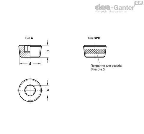 Резьбовые заглушки DIN 906 чертеж