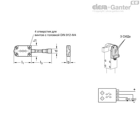 Бесконтактный выключатель GN 893.1 чертеж