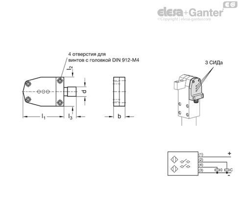 Бесконтактный выключатель GN 893.2 чертеж