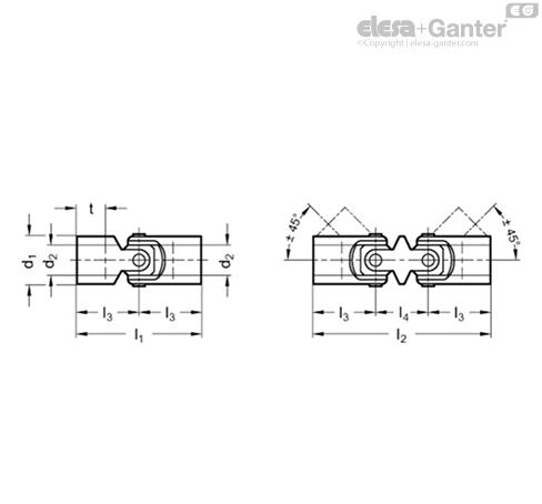 чертеж карданных соединений elesa+ganter