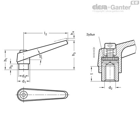 Регулируемые ручки рычажного типа GN 101.1