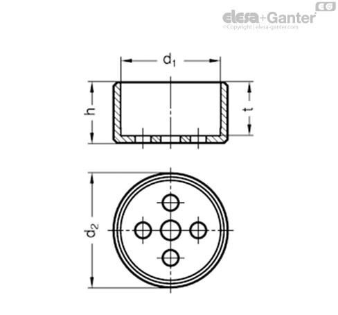 Направляющие цилиндры GN 187.1-NI чертеж