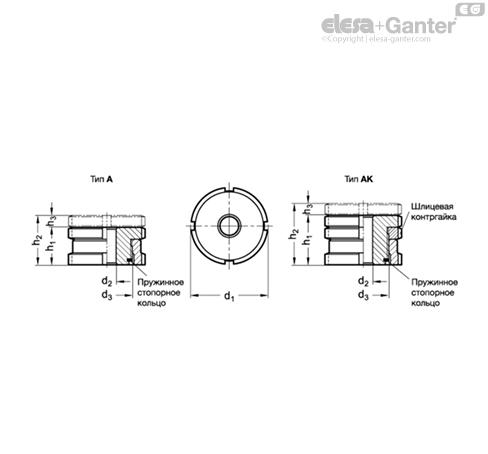 Комплекты для выравнивания GN 350.1-NI чертеж