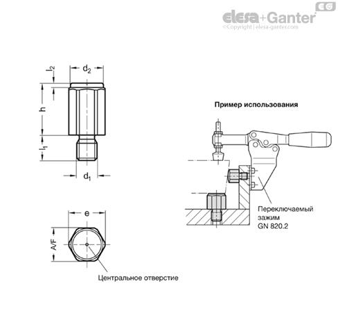 Установочные и опорные элементы GN 408.1-G чертеж