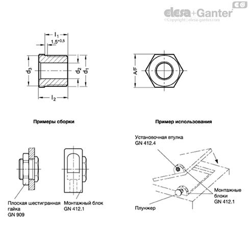 Позиционирующие втулки – нержавеющая сталь GN 412.4 чертеж