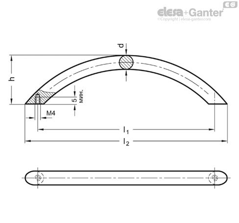 Ручки арочного типа из нержавеющей стали GN 424.5