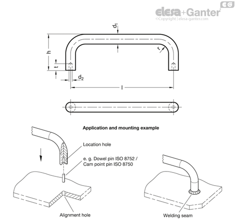П-образные ручки для ящиков и шкафов GN 425.3-NI