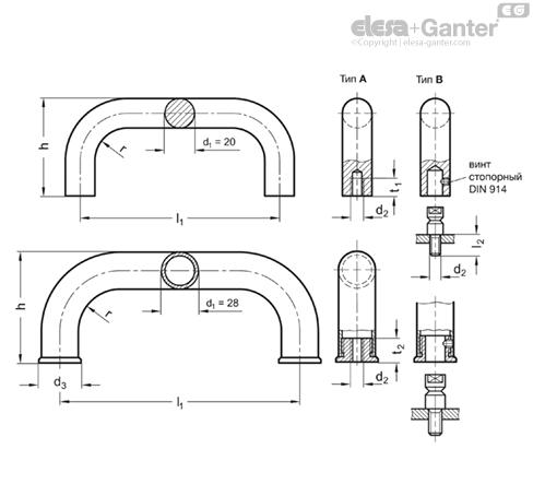 П-образные ручки для ящиков и шкафов из нержавеющей стали GN 426.5