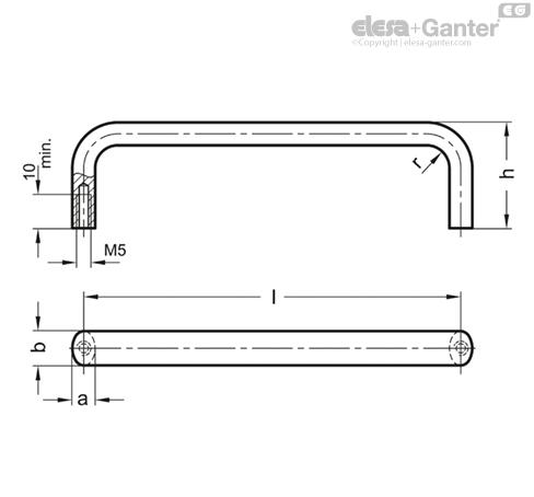 П-образные ручки для ящиков и шкафов из нержавеющей стали GN 427.5