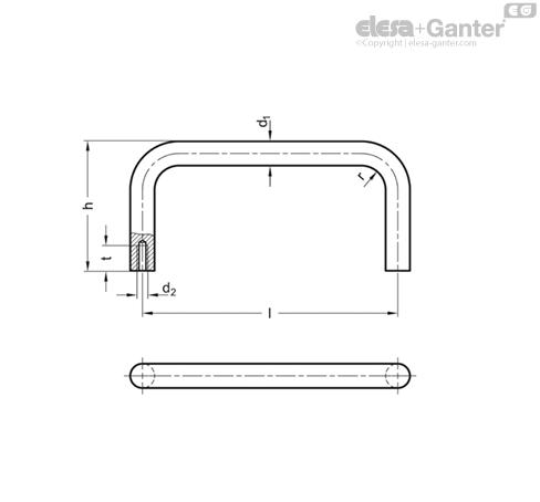 П-образные ручки для шкафов из нержавеющей стали GN 435