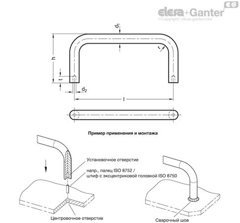 П-образные ручки для шкафов из нержавеющей стали GN 435.3