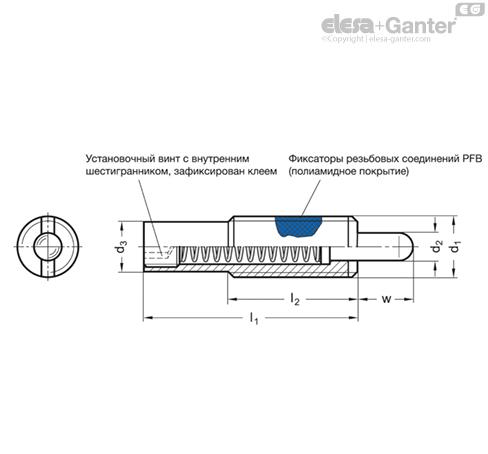 Фиксаторы пружинные GN 611 чертеж