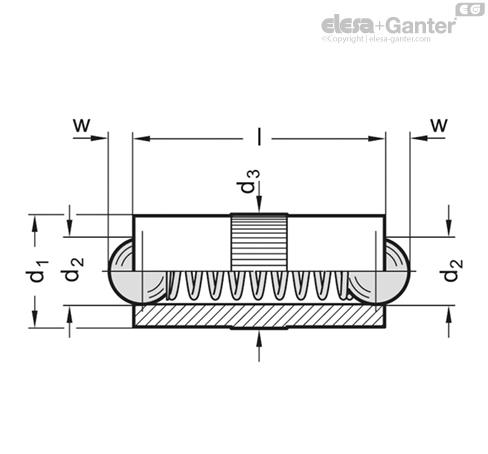Фиксатор пружинный GN 614.2 чертеж