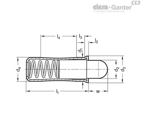 Фиксатор пружинный GN 614.4-KU чертеж