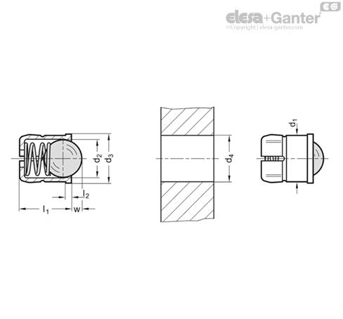 Фиксатор пружинный GN 614.5-KU чертеж