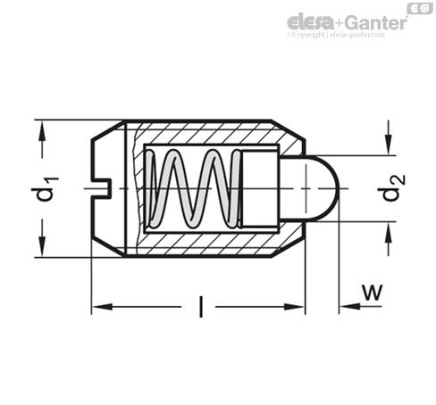 Фиксаторы пружинные GN 615.1-B/BS чертеж