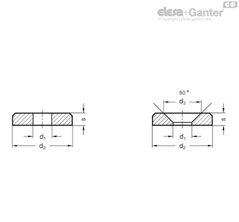 Шайбы GN 6341-NI чертеж