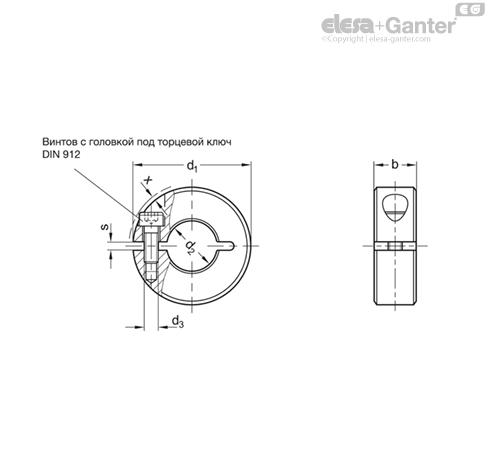 Полуразрезные установочные кольца GN 706.2-ST чертеж