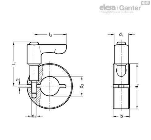 Полуразрезные установочные кольца GN 706.4-AL чертеж