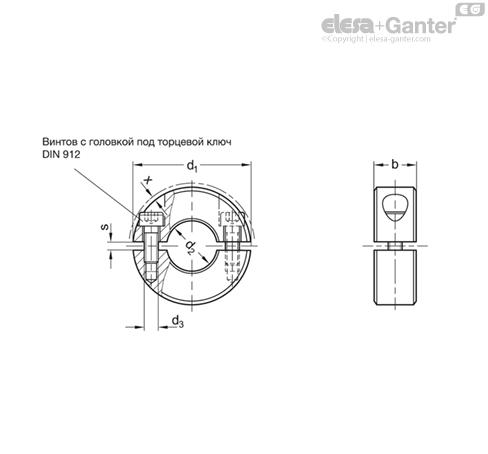Разрезные установочные кольца GN 707.2-AL чертеж