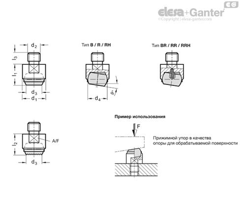 Прижимные упоры GN 709.1-R чертеж