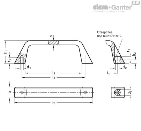 П-образные ручки для ящиков и шкафов из нержавеющей стали GN 728.5