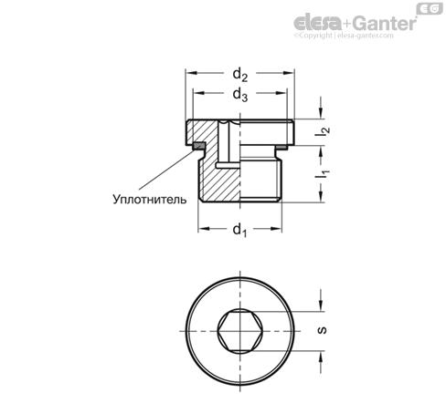 Резьбовые заглушки GN 749 чертеж