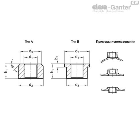 Сварные муфты GN 7490-NI чертеж