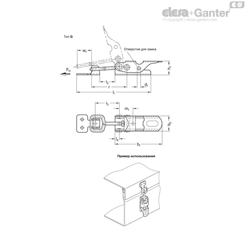 Замки натяжные с крюком GN 761-NI чертеж 1
