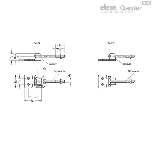 Замки натяжные с крюком GN 761-ST чертеж 2