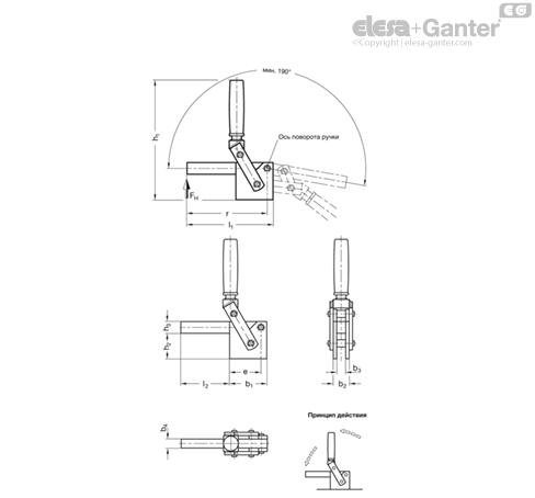 Вертикальные зажимы усиленного типа GN 813 чертеж