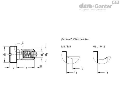 Фиксаторы пружинные GN 815-NI чертеж