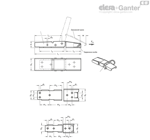 Замки натяжные с крюком GN 8330-NI рисунок 2
