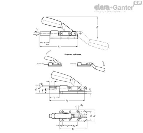 Плунжерные зажимы усиленного типа GN 842 чертеж