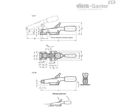 Зажимы шарнирно-рычажные GN 850.2-NI чертеж 1