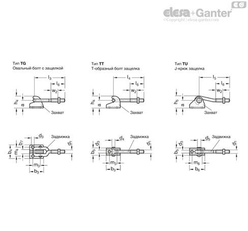 Зажимы шарнирно-рычажные GN 850.2-NI чертеж 2