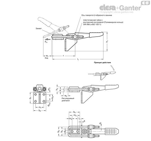 Шарнирно-рычажные зажимы GN 851.2 чертеж