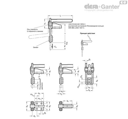 Шарнирно-рычажные зажимы GN 852.1 чертеж
