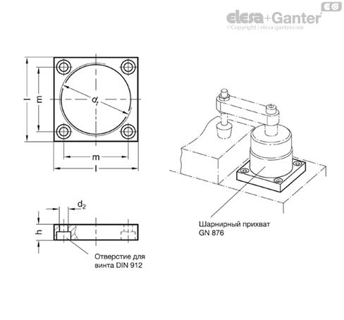 Резьбовые фланцы GN 876.1 чертеж