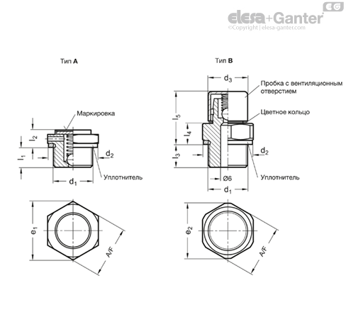 Вентиляционные клапаны GN 883 чертеж