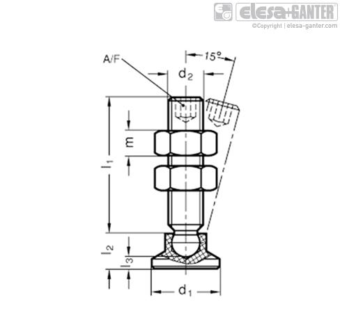 Шпиндельный узел с шарнирным зажимом GN 903-NI чертеж