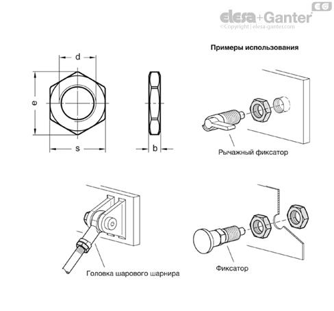 Низкие шестигранные гайки ISO 8675-ZB чертеж