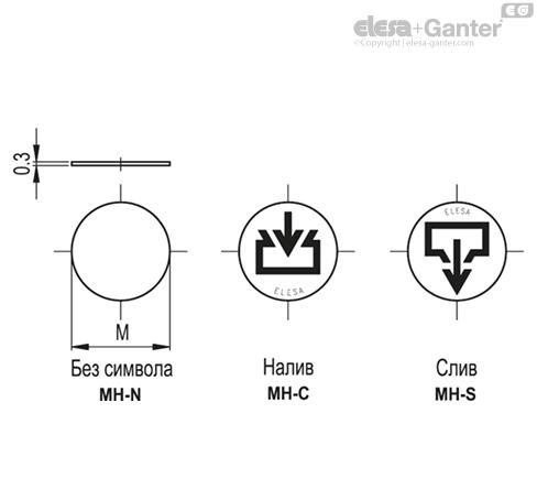 Этикетки со знаками и символами MH. чертеж